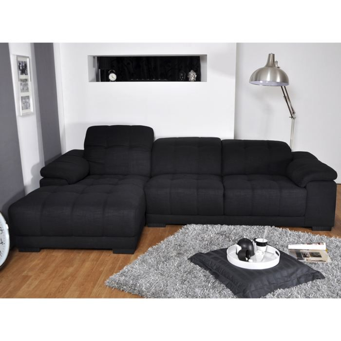 canap d 39 angle gauche tissu noir cuba 3 achat vente canap sofa divan cdiscount. Black Bedroom Furniture Sets. Home Design Ideas