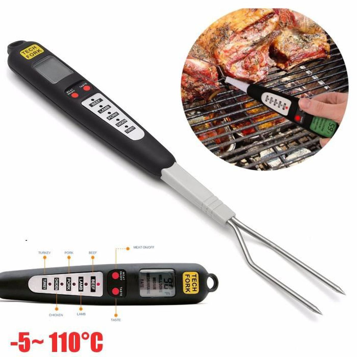 Lcd digital fourchette thermom tre cuisine outil bbq sonde for Thermometre digital cuisine