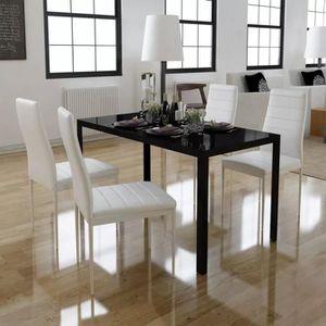 Table de salle a manger noir et blanc avec chaise