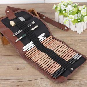 KIT DE DESSIN Lot de 18 crayons de bois,Dessin Croquis /Outils A