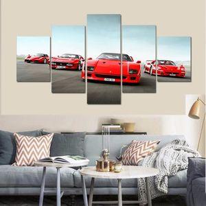 TABLEAU - TOILE 5 pcsImprimer peintures de voiture de sport rouge