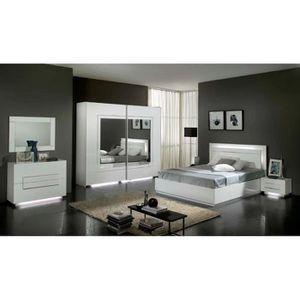 Chambre à Coucher Modèle City Laquee Blanche Avec Armoire 2
