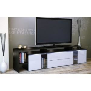 le lit de vos r ves meuble tv laque noir et blanc. Black Bedroom Furniture Sets. Home Design Ideas