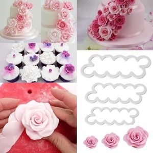 PLAQUE - POCHOIR 3pcs Emporte-Pieces Rose Petal Sugarcraft Moules A