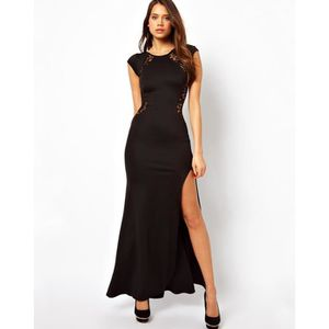 ROBE Robe femme longue moulante col rond sans manches f