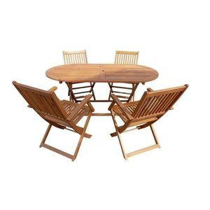 SALON DE JARDIN  Ensemble repas de jardin pliable - table 160x85cm