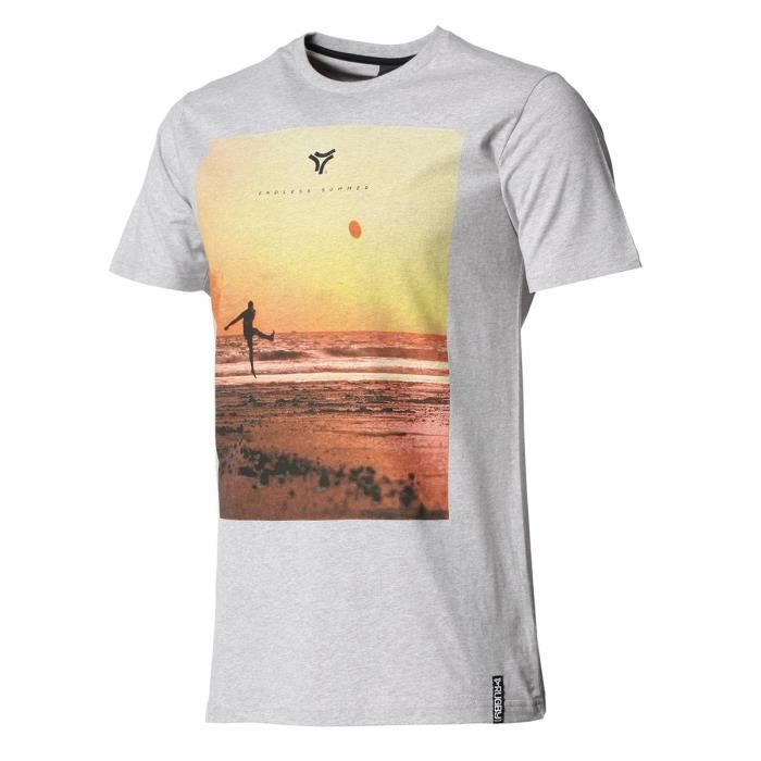 RUGBY DIVISION - Tee shirt manches courtes ENDLESS SUMMER gris chiné 100% coton
