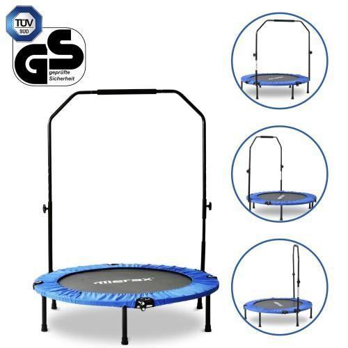 TRAMPOLINE FITNESS pliable 40 -, mini trampoline avec poignée en mousse réglable, charge max. 100 kg, Ø 102 cm--BLEU