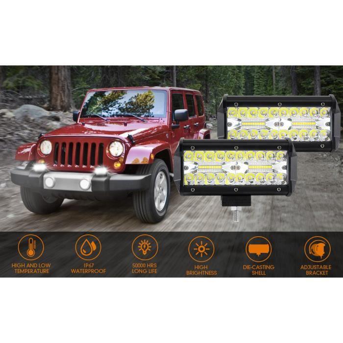 Phare de Travail LED 12V, 7- Projecteur LED Voiture 2 x 120W Combo Feux Antibrouillard Feux de Travail pour SUV UTV Offroad