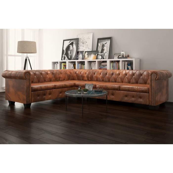 Canapé d'angle 6 places Marron Cuir Chesterfield