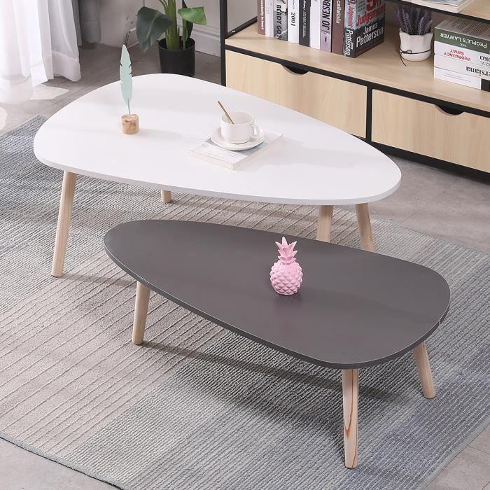 KEKE-Lot de 2 tables basses ovales gigognes scandinave blanc/gris laqué mat - bois pieds(98 * 61 * 39cm & 88 * 48 * 33cm)