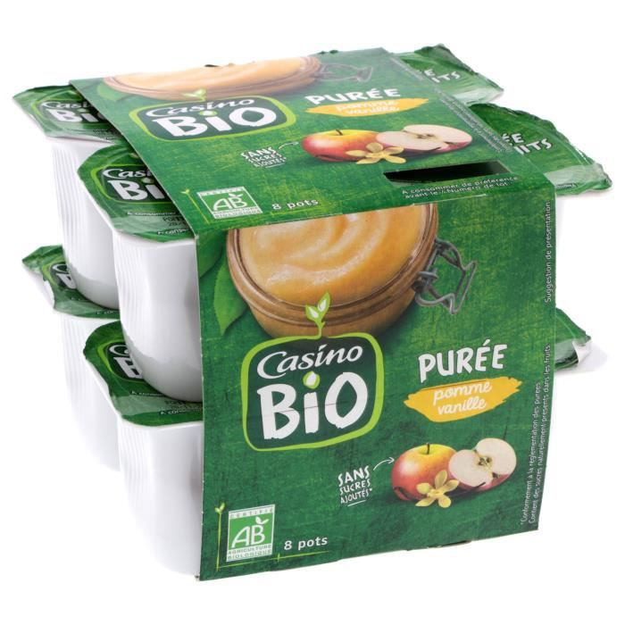 CASINO Purée Pommes Vanille Bio - 8X95G
