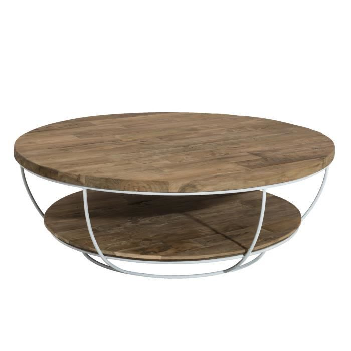 Table basse ronde double plateau style industriel en bois teck + pieds en métal et coque blanche - Ø 100 cm