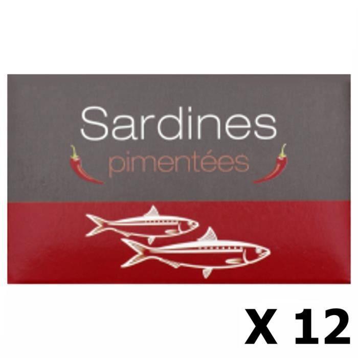 Lot 12x Sardines pimentées - Maroc - conserve 125g