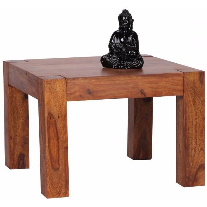 Table basse carrée contemporaine L. 60 x P. 60 x H. 40 cm en bois massif sheesham collection C-Hasu Fluttering Marron
