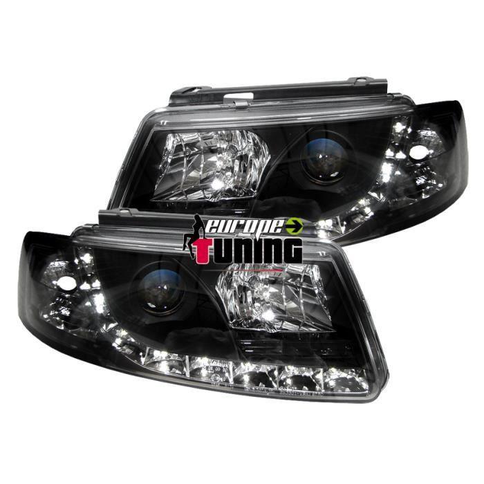 phares à LED diurnes, DragonLights, noir, avec clignotant... 96-00 pour: Volkswagen Passat B5 96-00