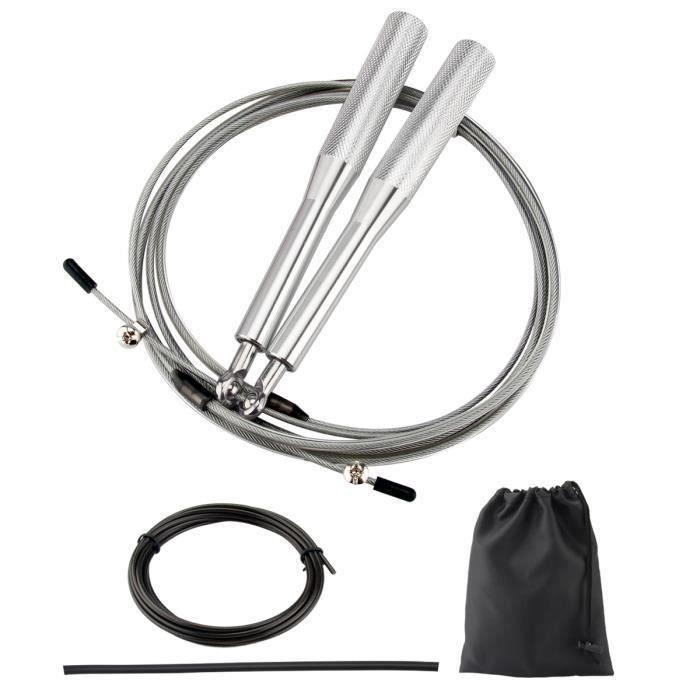 IRON GYM Corde à Sauter Ajustable Wire Speed Crossfit (Argent)