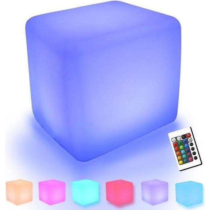 2PCS Cube Tabouret Siège extérieur imperméable LED– Light Meuble + Table Basse Tabouret 30cm Lumineux Multicolore + Télécomma C021C2