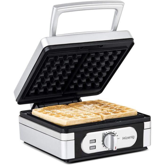 H.Koenig GFX320 Gaufrier électrique 2, Appareil à Gaufre Gaufrette 15x10cm Cuisson homogène Température réglable, Waffle Maker, Plaq