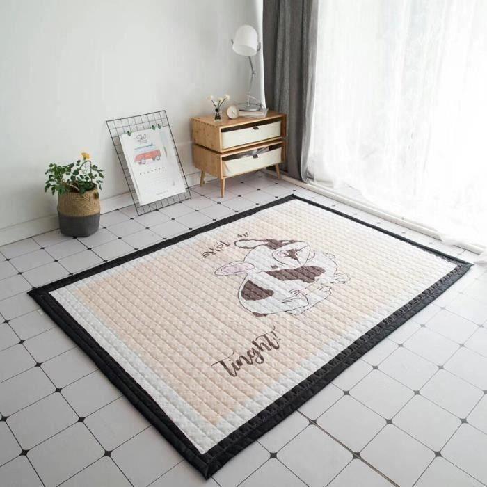 Tapis de Sol Coton Animaux Antidérapant Bébé Jeu Activité Déco Maison 195X145cm TYPE C L56802