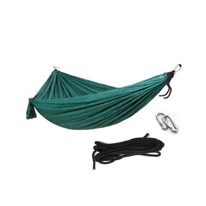 Hamac Toile Parachute 2 Personnes - 200kg de Charge - 270x140cm Vert foncé AAA35877