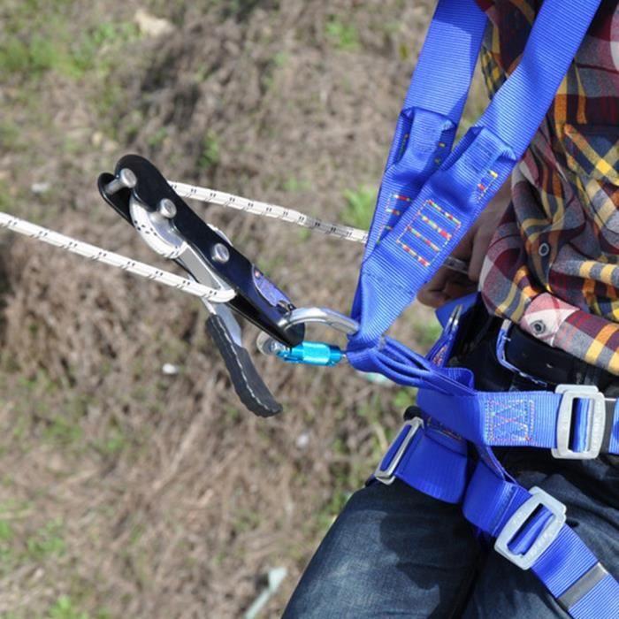 ZJCHAO mousqueton d'escalade Escalade Descendeur Arrêt auto-freinant Corde Pince Grab Rescue Climb Accessoires