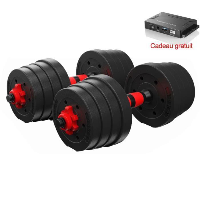 BESPORTBLE 30KG Haltère réglable avec plaque Kit Haltères Musculation Poids maison gym