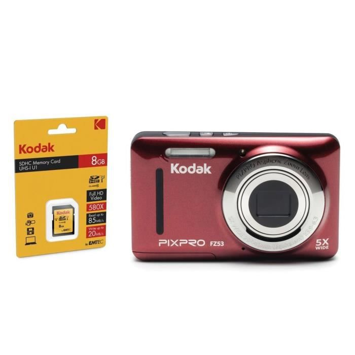 KODAK FZ53 Appareil Photo Compact - Rouge + KODAK Carte 8 Go