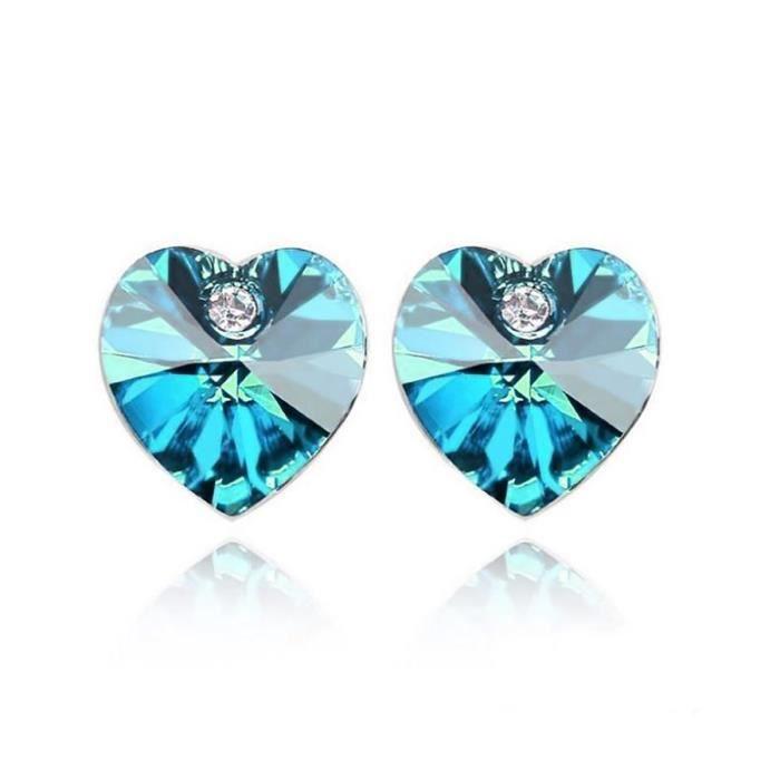 Boucles d'oreilles Swarovski Elements en forme de coeur en cristal autrichien bleu en forme de coeur