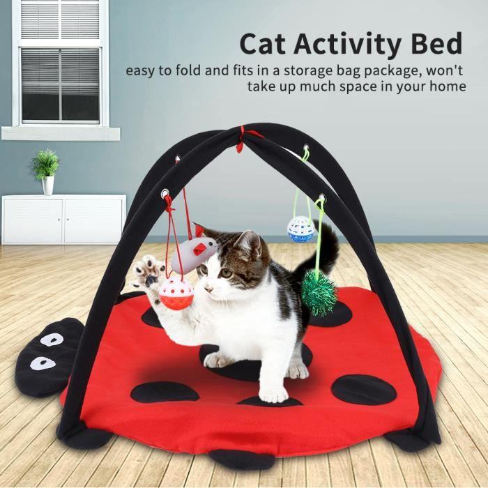 Lit pliable multifonctionnel d'animal familier de tente de tapis de jeu d'activité de chat avec les boules accrochantes de jouet H