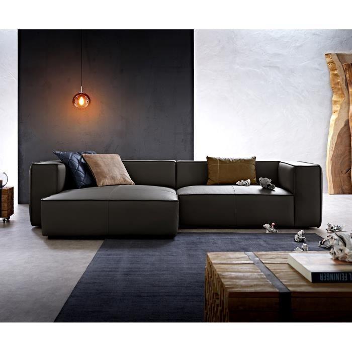 Canapé-d'angle Around the Block noir 300x165 cuir véritable chaise longue gauche de W. Schillig