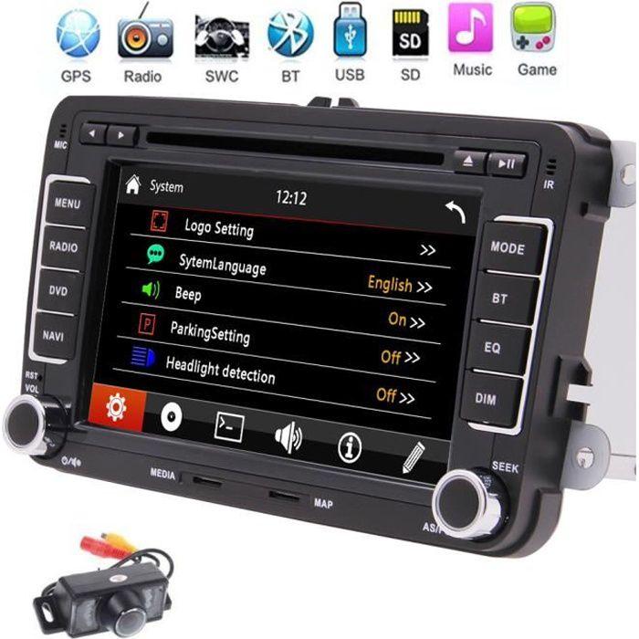 Double caméra arrière 2 Din Car Stereo Player Système de navigation Autoradio écran tactile capacitif GPS pour VW Golf Volkswagen Pa