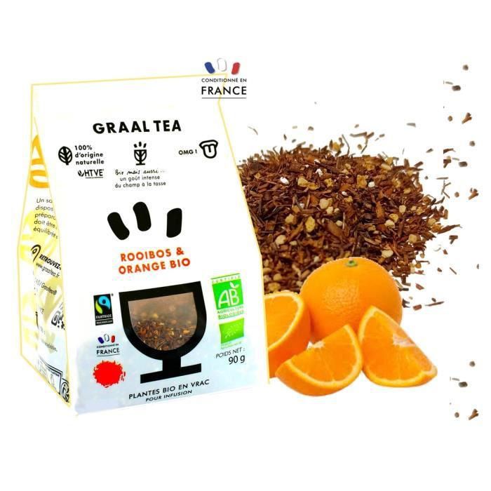 GRAALTEA - Infusion Dégustation - Rooibos & Orange BIO en Vrac - 100% d'Origine Naturelle - Made in France - 1 Paquet x 90 grammes