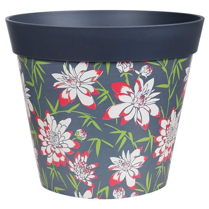 Hum Flowerpots Grand Pot De Fleurs Colorés D'intérieur/Extérieur Bambou Floral Gris