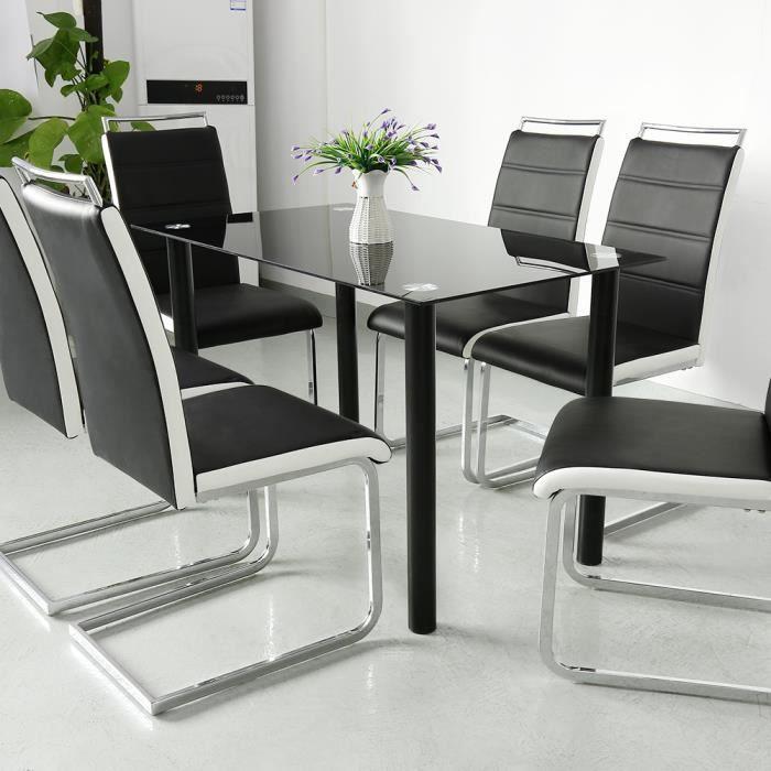 JEOBEST® 6 x Chaises de salle à manger - En simili noir et blanc - L 44 x P 46 cm