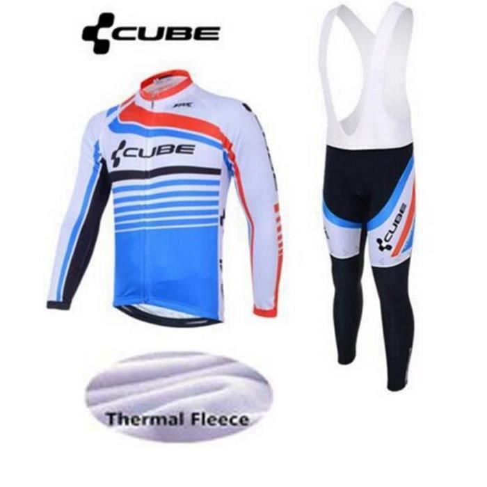 Maillot de Cyclisme Hiver Thermique Fleece Manches Longue , Pantalons à Bretelle Homme Vélo Selle de Silicone.XS-3XL