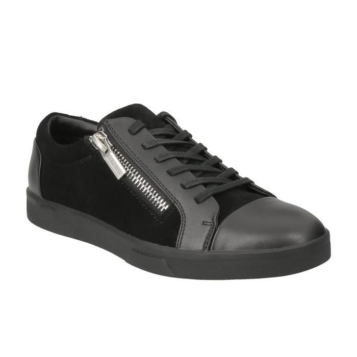 Basket mode Calvin Klein Ibrahim zippé en daim et cuir noir..