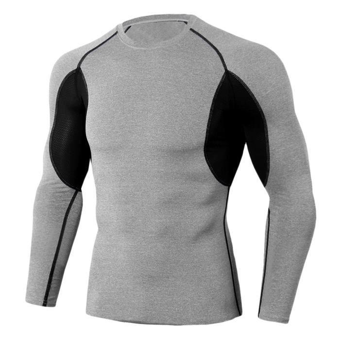 Tee Shirt De Sport Pour Homme Manches Longues Haut De Compression Base Layer Séchage Rapide TC91 3XL
