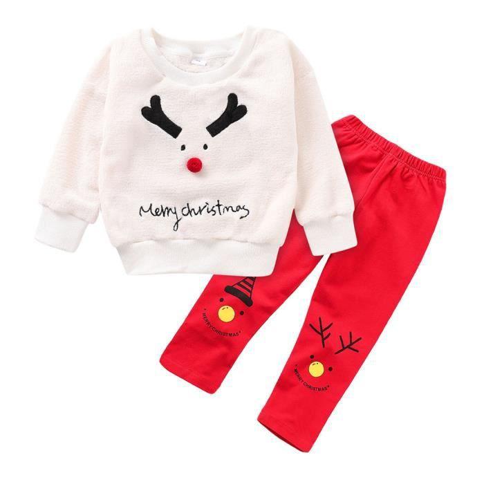Enfant en bas âge enfants noël bébé garçon fille cerf sweat pantalon tenues survêtement ensemble 140