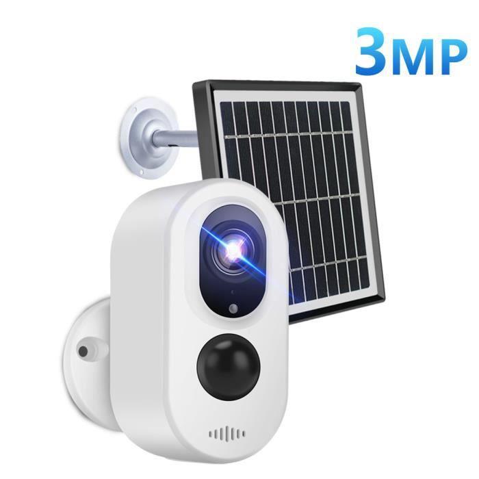 Mini caméra de surveillance Bullet extérieure solaire WIFI 3MP (3.3W), dispositif de sécurité sans fil, avec panneau solaire et batt