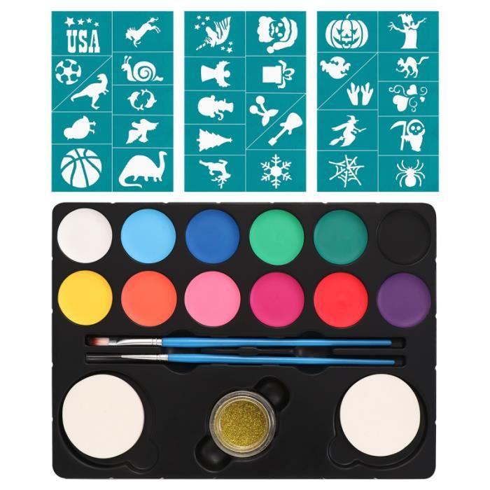 1 Set Kit de peinture pour le visage Safe Creative Vivid 12 couleurs de pour du corps pour les carnavals EPONGE DE MAQUILLAGE