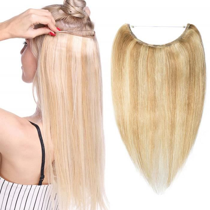 Extension Cheveux Fil Invisible Cheveux Humain Naturel Rajout Cheveux Wire In Hair Extension [20 Pouces,#18P613 Sable Blond & Blond