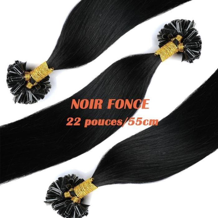 Extensions Keratine a Chaud Cheveux Naturels 50 mèches(1g-mèche) NOIR FONCE-22 pouces-55cm - Onglet Pointe U Kératine Remy Hair