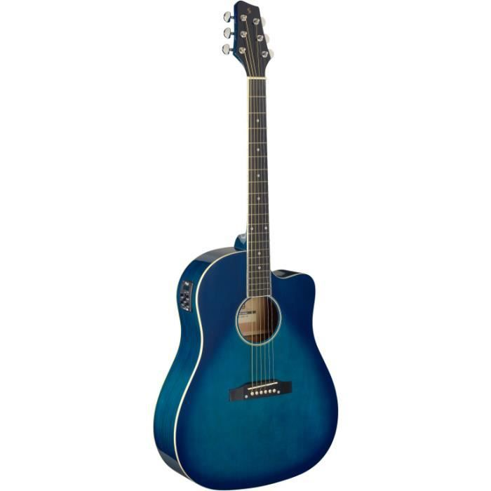 Guitare dreadnought Slope Shoulder électro-acoustique, pan couplé, bleu transparent