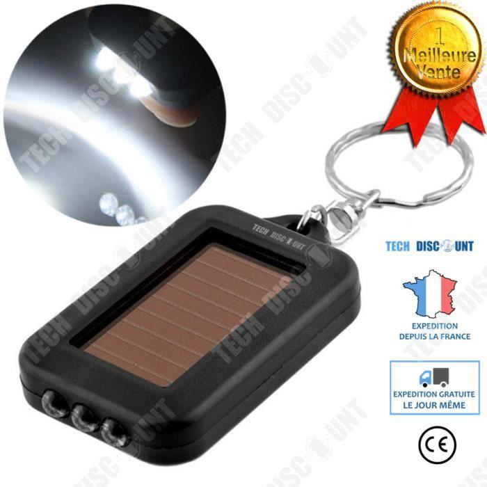 TD® lampe de poche solaire led puissante rechargeable usb uv porte clé dynamo torche batterie petite lumière forte décharge continue