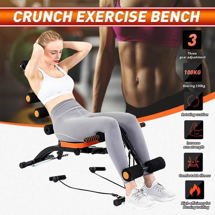 Banc de musculation avec Bandes Elastiques Pratique - Fitness abdominal Sit Up Pull Rope Exercise Machine 98 x 34,5 x 83 cm