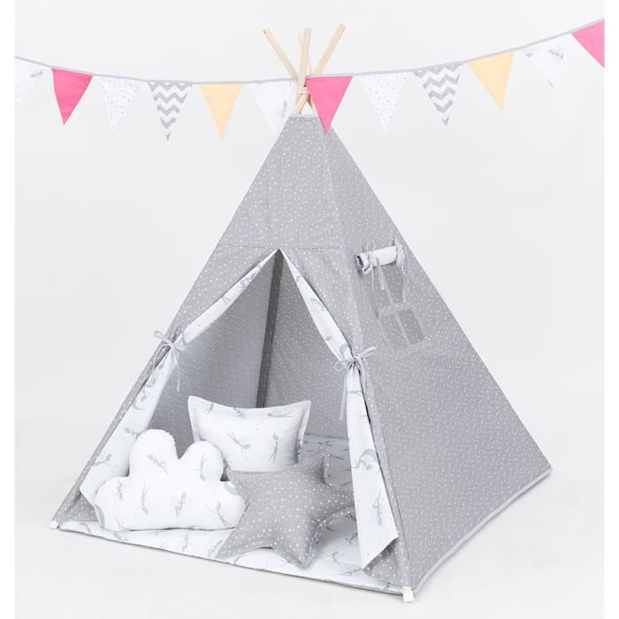 tipi enfant complet f e pour chambre de gar on ou fille achat vente tente tunnel d 39 activit. Black Bedroom Furniture Sets. Home Design Ideas