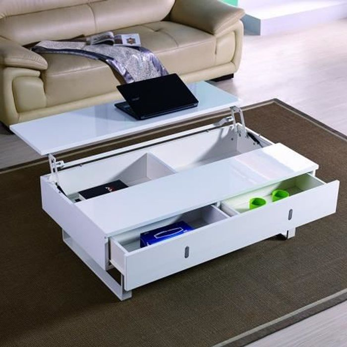 Table basse relevable laque blanc mutifonction easy - Table basse relevable cdiscount ...