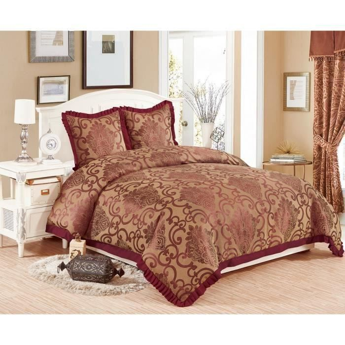 couvre lit royal jacquard 3 pi ces bordeaux achat vente jet e de lit boutis soldes. Black Bedroom Furniture Sets. Home Design Ideas
