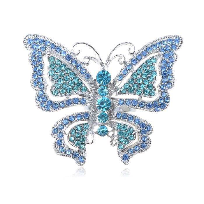 Aqua Sea Blue Sapphire papillon Indicolite strass cristal bague réglable